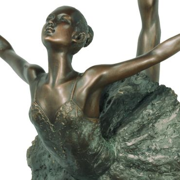 Bronze Figure of Ballerina with Leg in the Air in Tutu – image 2