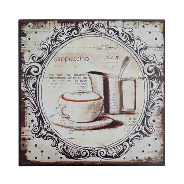 Metal Sign Cappuccino cream decoration french coffee antique 30x30 cm