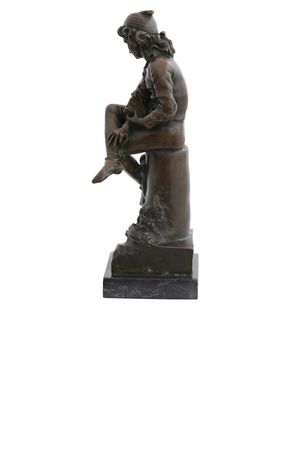 Bronze Statue of Young Boy sitting on Marble Base – image 2