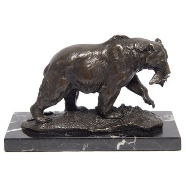 Bear with Fish Animal Bronze Figure 13cm Art Home Lost Wax Wild Forest Bear  – image 1