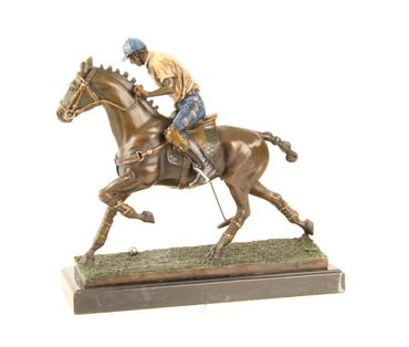 Bronze Figure on Marble - Bronze Polo Player Horse Rider Man on Horse – image 3