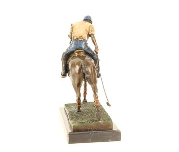 Bronze Figure on Marble - Bronze Polo Player Horse Rider Man on Horse – image 11