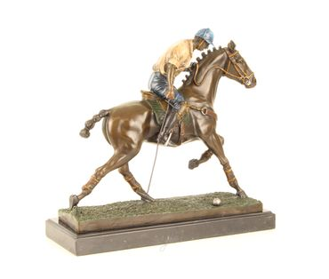 Bronze Figure on Marble - Bronze Polo Player Horse Rider Man on Horse – image 14