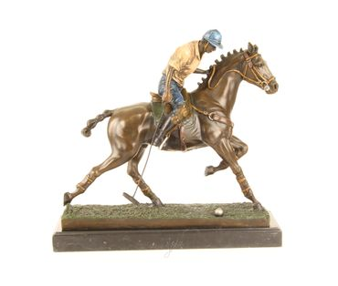 Bronze Figure on Marble - Bronze Polo Player Horse Rider Man on Horse – image 15