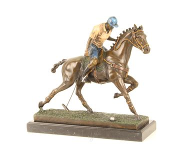 Bronze Figure on Marble - Bronze Polo Player Horse Rider Man on Horse – image 1