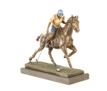Bronze Figure on Marble - Bronze Polo Player Horse Rider Man on Horse – image 2