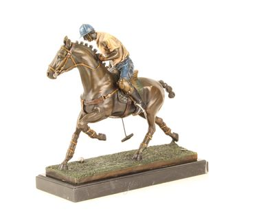 Bronze Figure on Marble - Bronze Polo Player Horse Rider Man on Horse – image 6