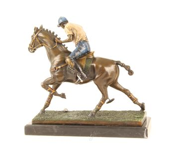Bronze Figure on Marble - Bronze Polo Player Horse Rider Man on Horse – image 8