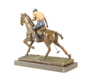 Bronze Figure on Marble - Bronze Polo Player Horse Rider Man on Horse – image 9