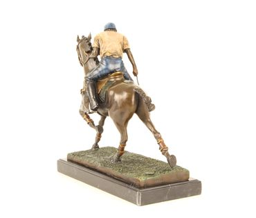 Bronze Figure on Marble - Bronze Polo Player Horse Rider Man on Horse – image 10