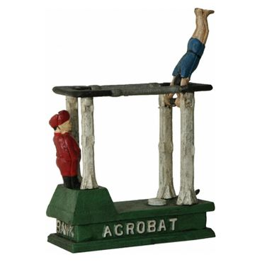 2 Acrobats Moneybox Toy Moveable Iron Sport Decoration – image 3