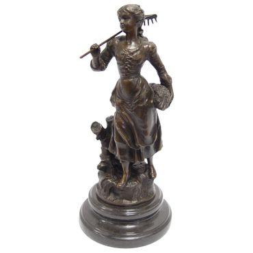 Antic Style Women Working in Dress on Marble Base