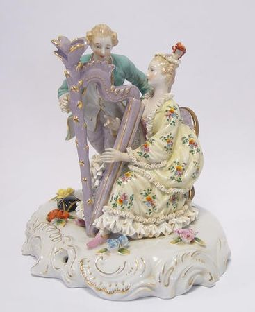 Baroque style porcelain harp playing couple man and wife elegant
