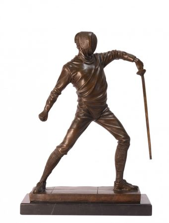Fencer bronze statue Man with sword in fencing stance ready to fight
