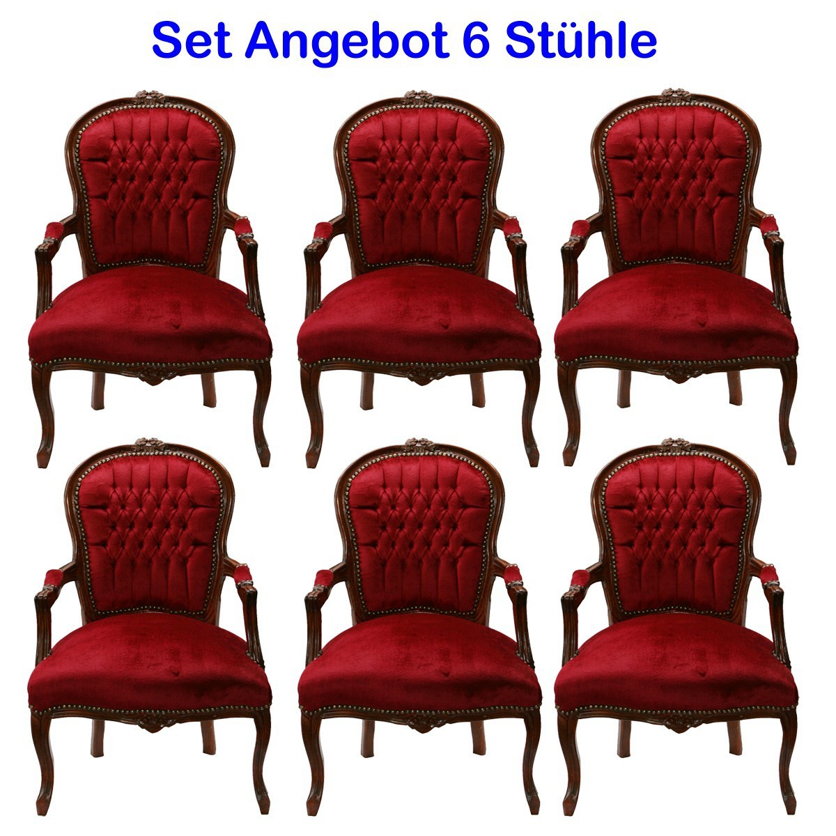salonstuhl set 6 st hle rot armlehnstuhl barock antik stil mahagoni braun. Black Bedroom Furniture Sets. Home Design Ideas
