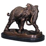 Elephant beautiful African bronze statue safari Feeling inclusive figure from bronze with marble base Africa for at home. 001