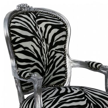 French dining chairs Antique black white Safari print – image 5