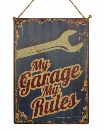 My garage my rules tin sign decoration wall retro used look 15.8x11.3in