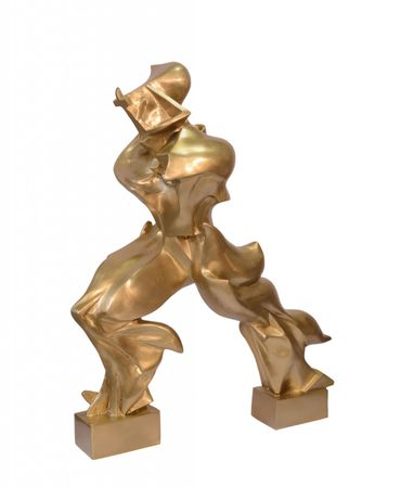 88.2 cm Modern Abstract Art Gold Gilded Bronze Lost Wax Figure polished House