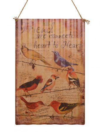 Bistro sign tin bird decoration Friend are Conectet  23,3x15,7in