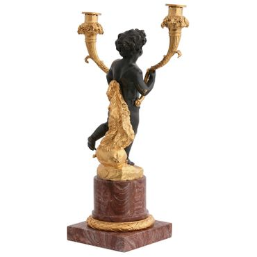 Candlestick gold bronze candlestick marble base table lamp pomp – image 3