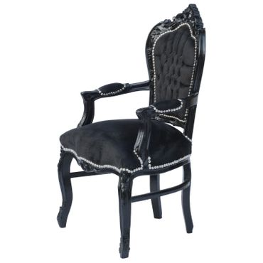 Noble chair in black fabric with black wood – image 2