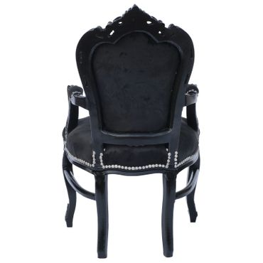 Noble chair in black fabric with black wood – image 4