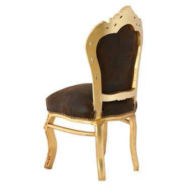 Barocker Polsterstuhl mit Suedine Kunstleder in braun und goldenem Rahmen – Bild 4