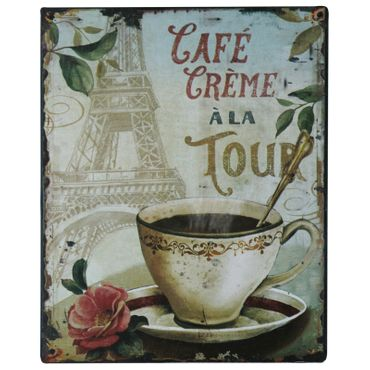Cafe Creme tin sign wall decoration high quality 9.8x7.9in
