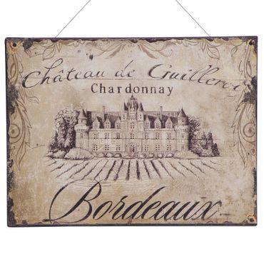 Chardonnay Bordeaux tin sign castle vintage nostalgic advertisement 9.8x13in