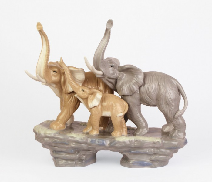 Porzellanfigur Elefantenfamilie Porzellan Familie Elefant