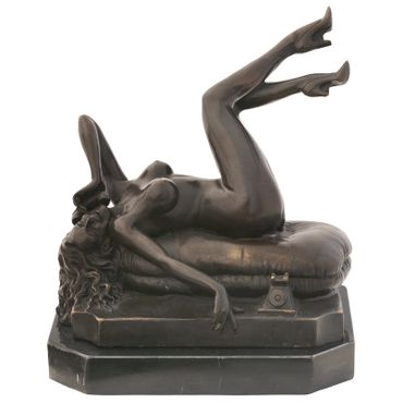 Erotic woman phone bronze figure sculpture artist naked nude lying repro – image 1