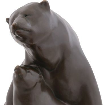 Bear Mother and child sculpture Bronze Art Deco security polar bears love gift – image 5
