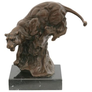 Big Cat Panther Jaguar bronze animal figure descending from the tree trunk Repro Sculpture – image 1