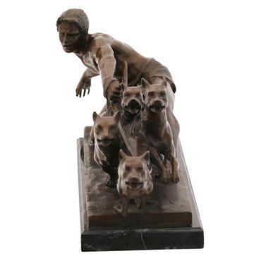 Dog Walker Man with Dogs Bronze Hand Polished Figure – image 2