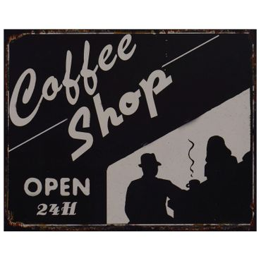 Coffee shop black and white shadow decoration tin sign