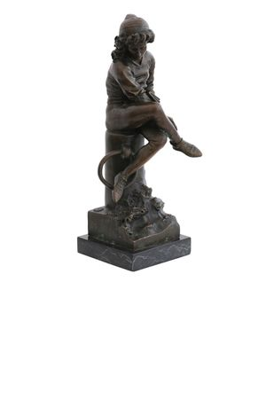 Bronze Statue of Young Boy sitting on Marble Base – image 4