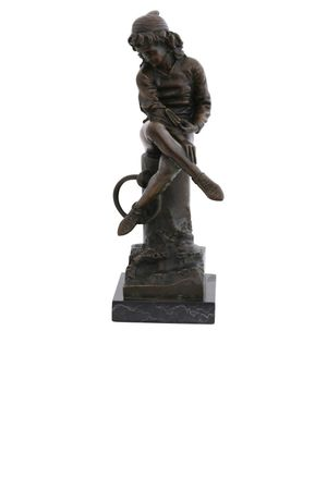 Bronze Statue of Young Boy sitting on Marble Base – image 1
