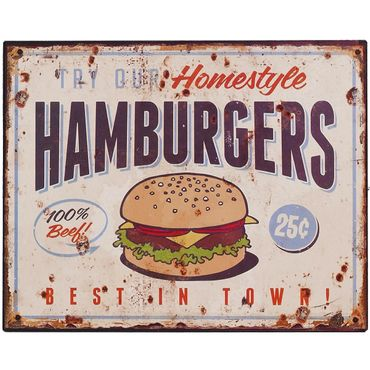Bar sign homestyle hamburgers best in town retro decoration tin