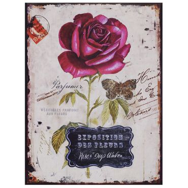 Advertisement sign retro tin perfume rose vintage flower antique