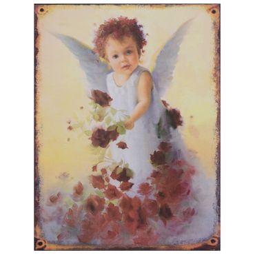 Angel child decoration sign vintage roses nostalgic tin magical
