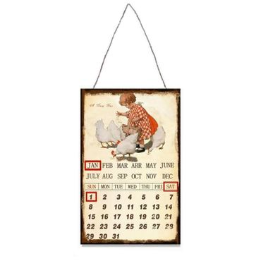Calender whole year tin child farm vintage antique style