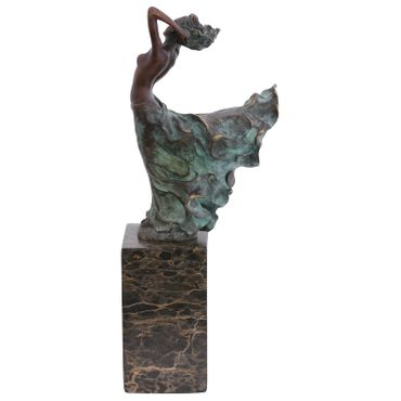 Topless woman Bronze Statue Wind Decoration Marble Block Pretty Woman Bronze – image 2