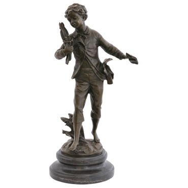 Bird's Nest boy bronze statue bird thief Repo Man bird sculpture decoration gift – image 1