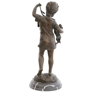 Cat Toys bronze sculpture girl dress branch cat Barefoot Statue Figure – image 3