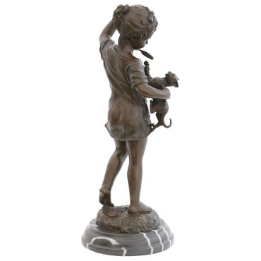 Cat Toys bronze sculpture girl dress branch cat Barefoot Statue Figure – image 4