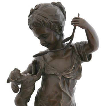 Cat Toys bronze sculpture girl dress branch cat Barefoot Statue Figure – image 5
