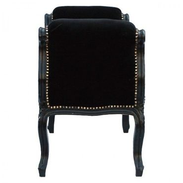 Black solid wood bench seat in noble Baroque style – image 2