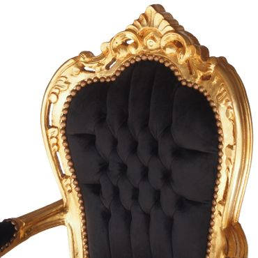Noble chair in black fabric with gold-leafed wood – image 5