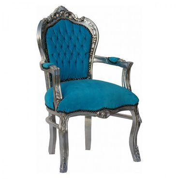 Noble chair in aqua blue fabric with silver-leafed wooden frame – image 2